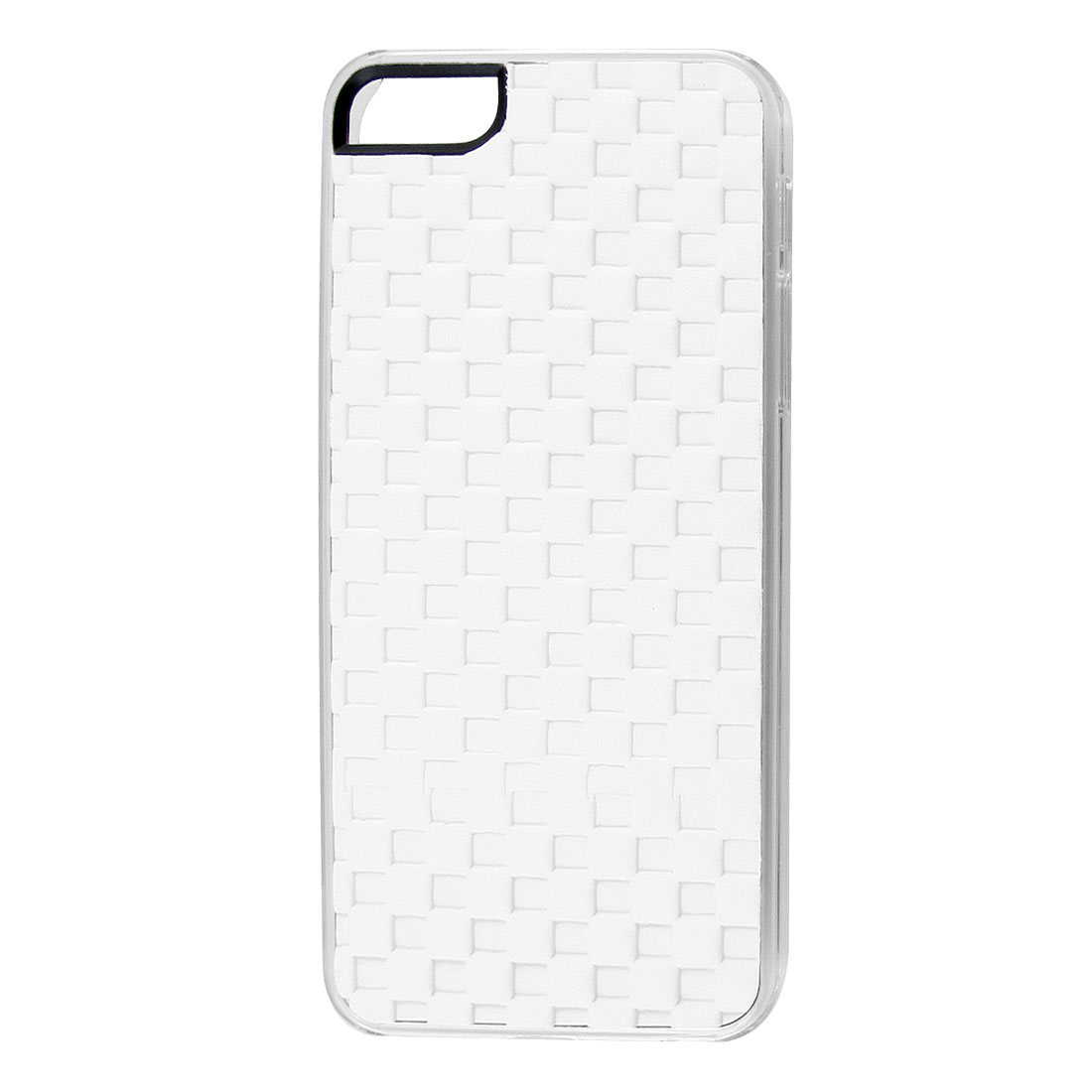 White Faux Leather Coated Check Hard Back Case Cover for Apple iPhone 5 5G 5th