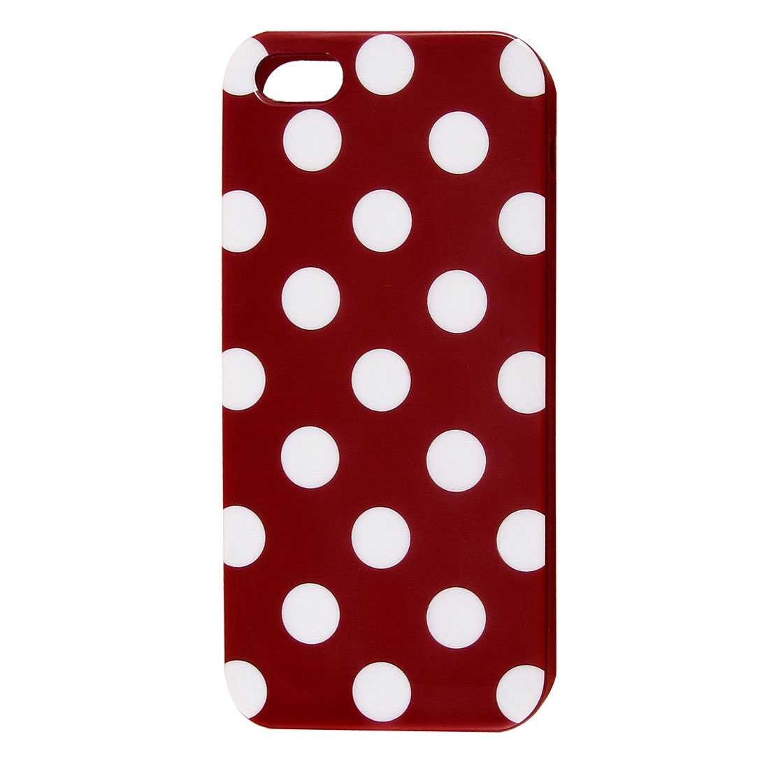 White Polka Dot Dark Red Plastic TPU Phone Case Cover for Apple iPhone 5 5G