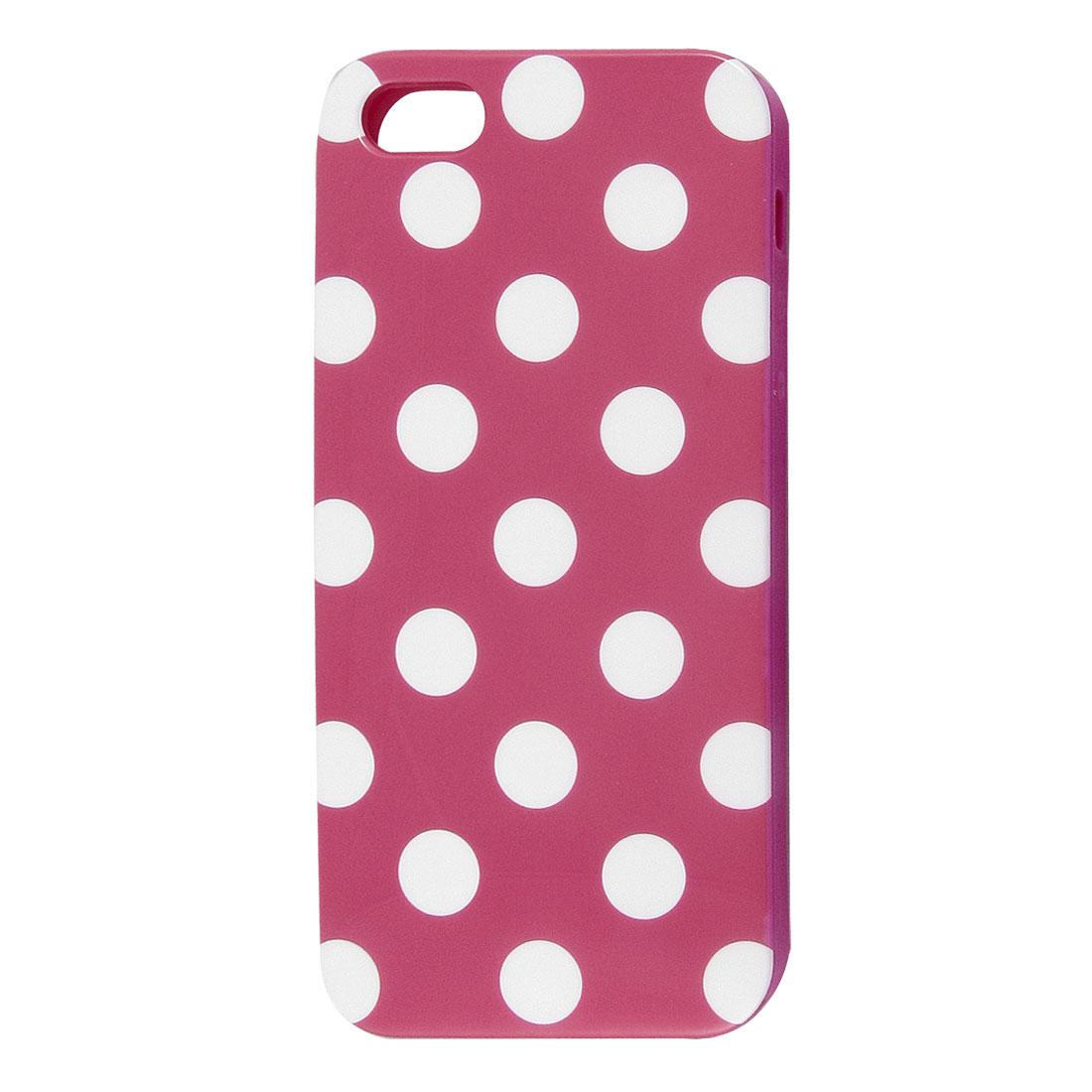 White Polka Dot Fuchsia Plastic TPU Phone Case Cover for Apple iPhone 5 5G