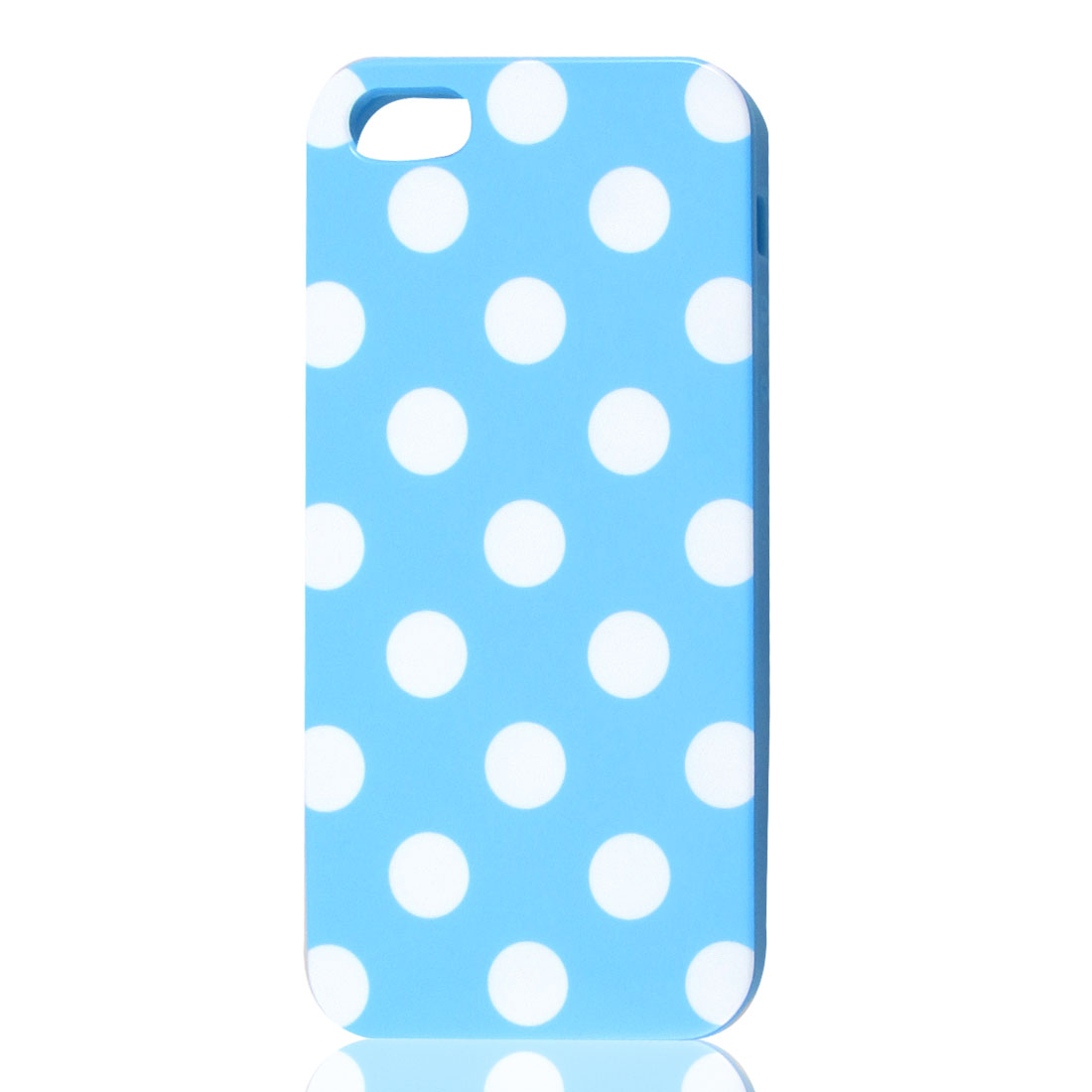 White Polka Dot Light Blue Plastic TPU Phone Case Cover for Apple iPhone 5 5G