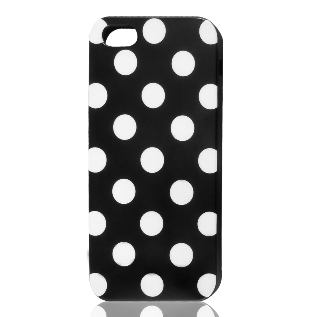 White Polka Dot Black Plastic TPU Phone Case Cover for Apple iPhone 5 5G