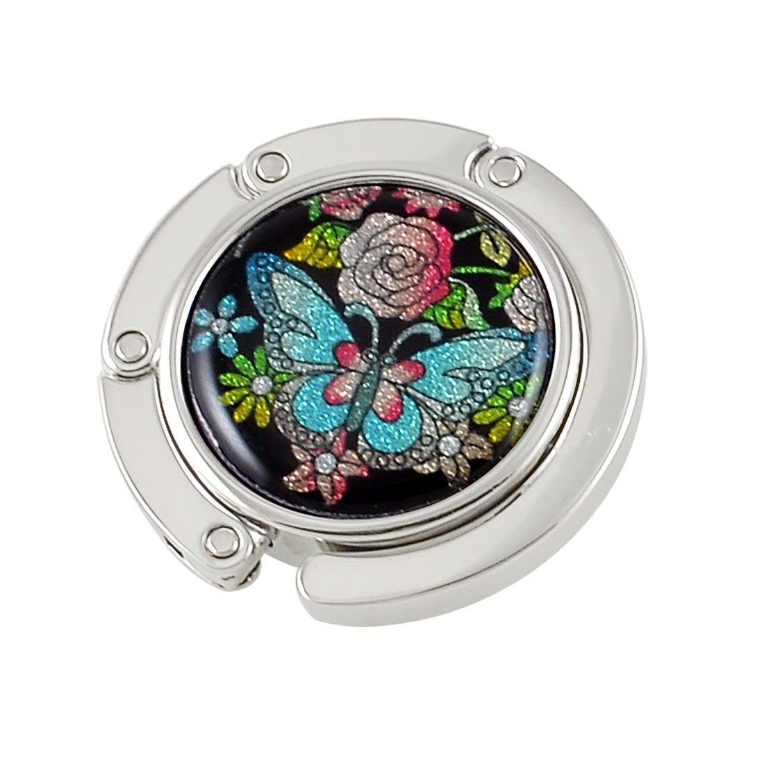 Lady Metal Round Shape Butterfly Pattern Foldable Handbag Hook Hanger Colorful