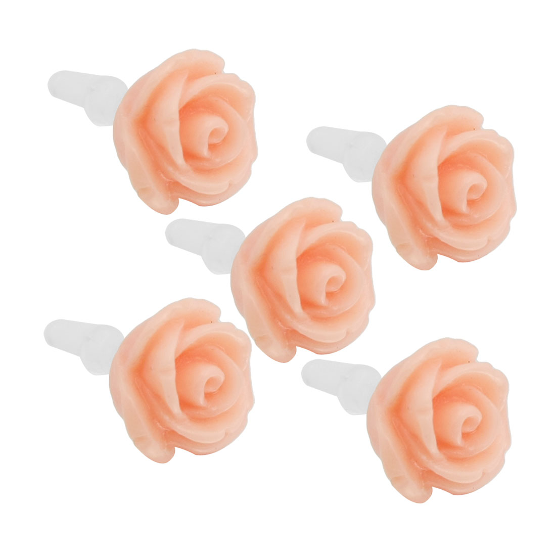 5 Pcs Apricot Rose 3.5mm Ear Cap Anti Dust Connector Stopper for Cell Phone