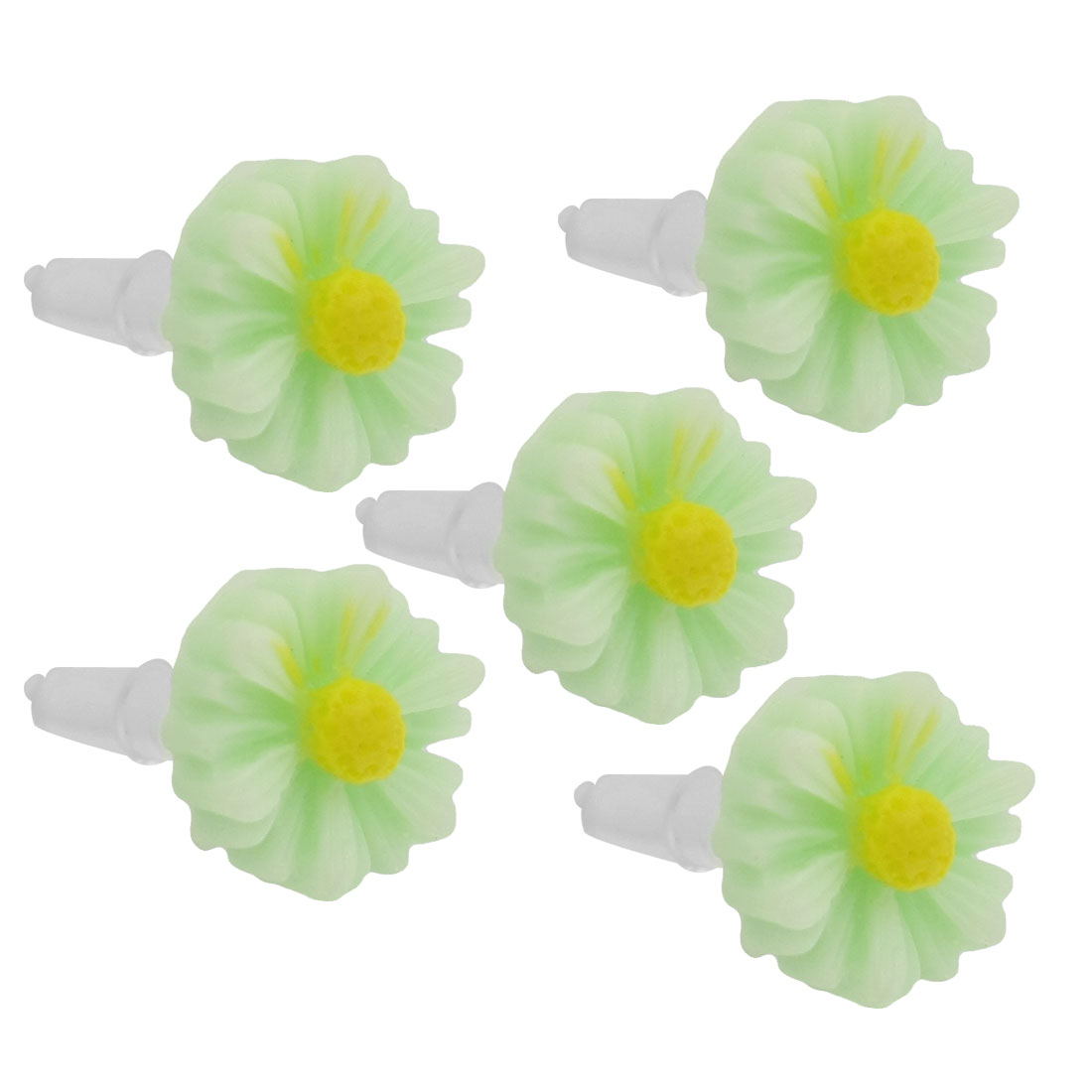 5 Pcs Light Green Daisy 3.5mm Ear Cap Anti Dust Plug Stopper