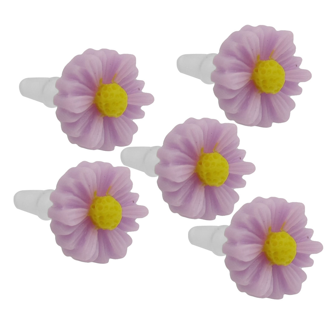 5 Pcs Purple Daisy 3.5mm Ear Cap Anti Dust Plug Stopper