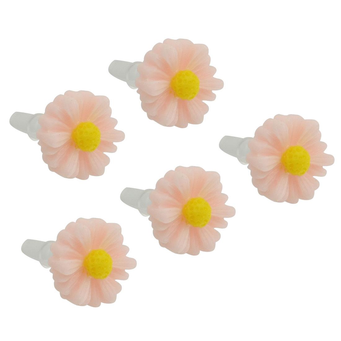 5 Pcs Pink Daisy 3.5mm Ear Cap Anti Dust Connector Stopper