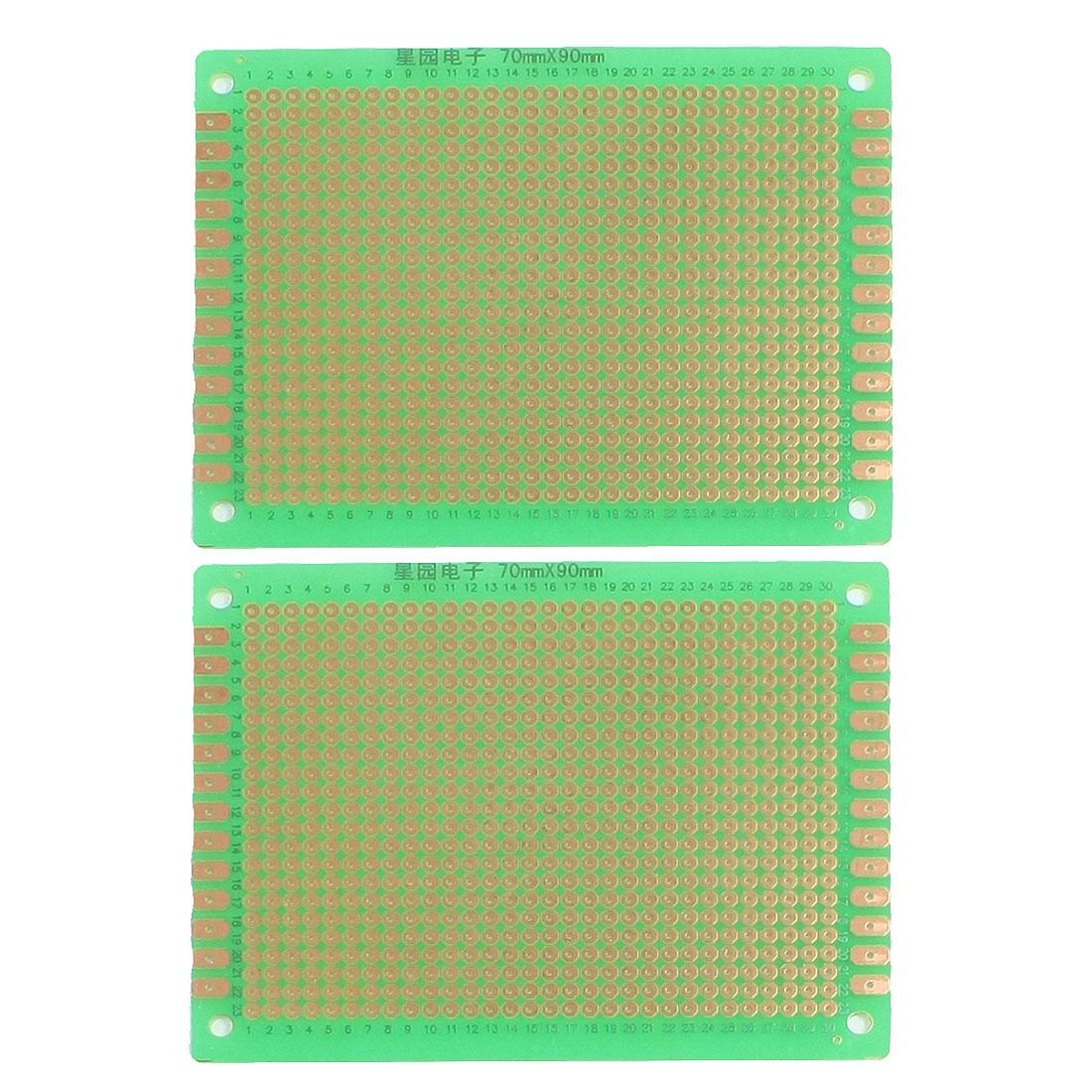 2 Pcs Prototyping Single Side PCB Board Stripboard Green 9x7cm