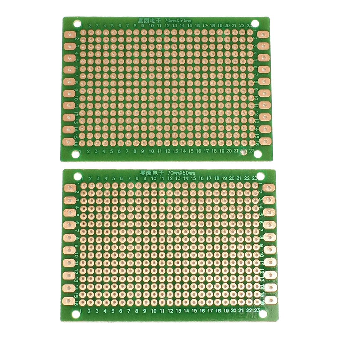 2 Pcs Universal Single Side PCB Board Stripboard 70x50mm Green