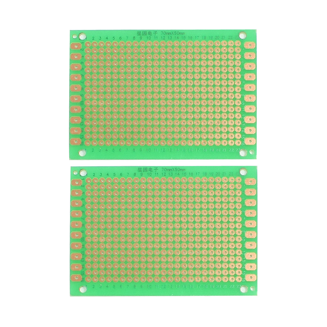 2 Pcs Single Side Prototype PCB Board Stripboard 70x50mm Green