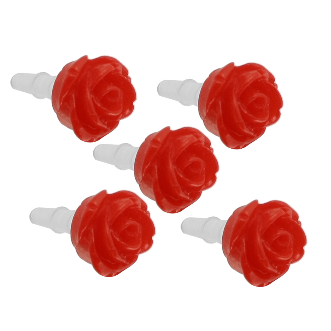 5 Pcs Red Rose 3.5mm Ear Cap Anti Dust Plug Stopper for Cell Phone