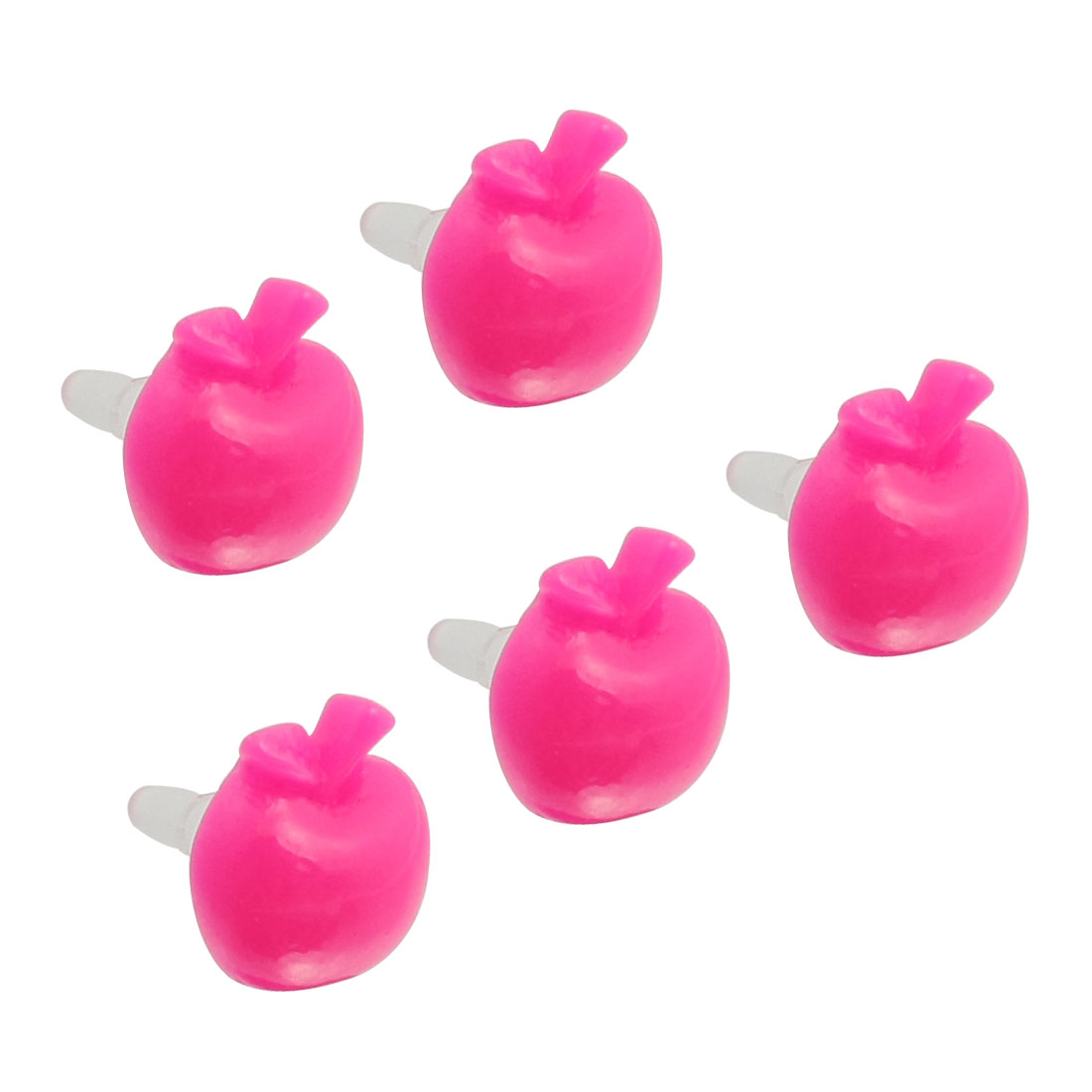 5 Pcs Magenta Apple Shape 3.5mm Ear Cap Anti Dust Plug Stopper for iPhone 5G 3G 4S