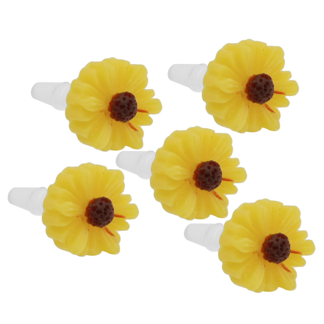 5 Pcs Yellow Daisy 3.5mm Ear Cap Anti Dust Connector Stopper for iPhone 5G 3G 4S