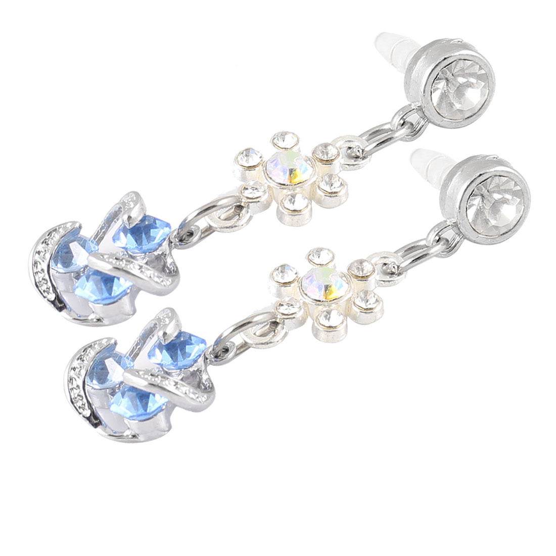 2 Pcs Blue Tri Crystals Linked 3.5mm Earphone Ear Cap Anti Dust for Cellphone