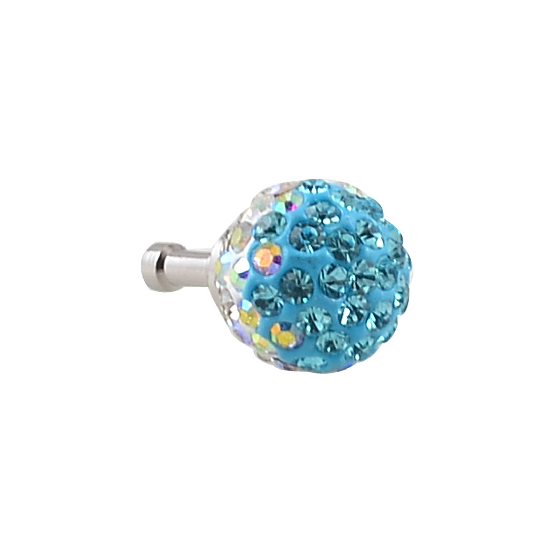 Sky Blue Crystals Ball 3.5mm Earphone Ear Cap Anti Dust Plug Cover for iPhone 4S