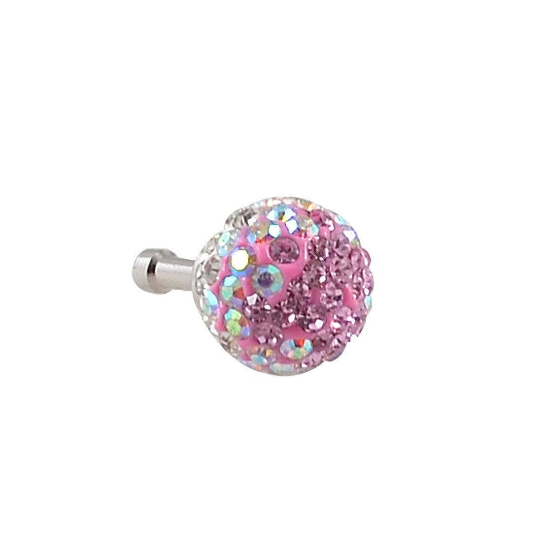 Pink White Crystals Ball 3.5mm Anti Dust Earphone Cap Stopper