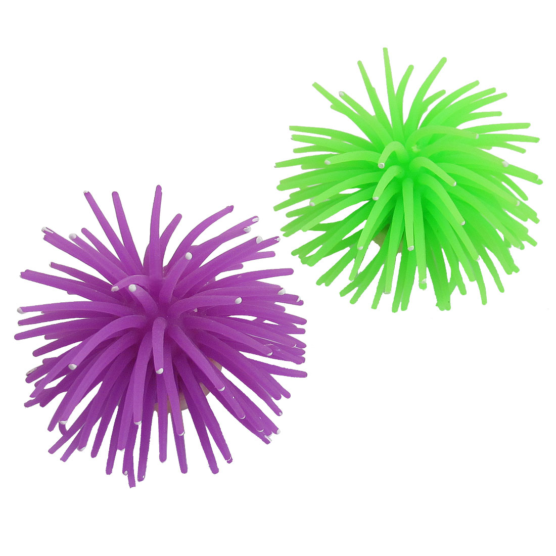 2 Pcs Aquarium Decorative Purple Green Aquatic Soft Silicone Corals w Base