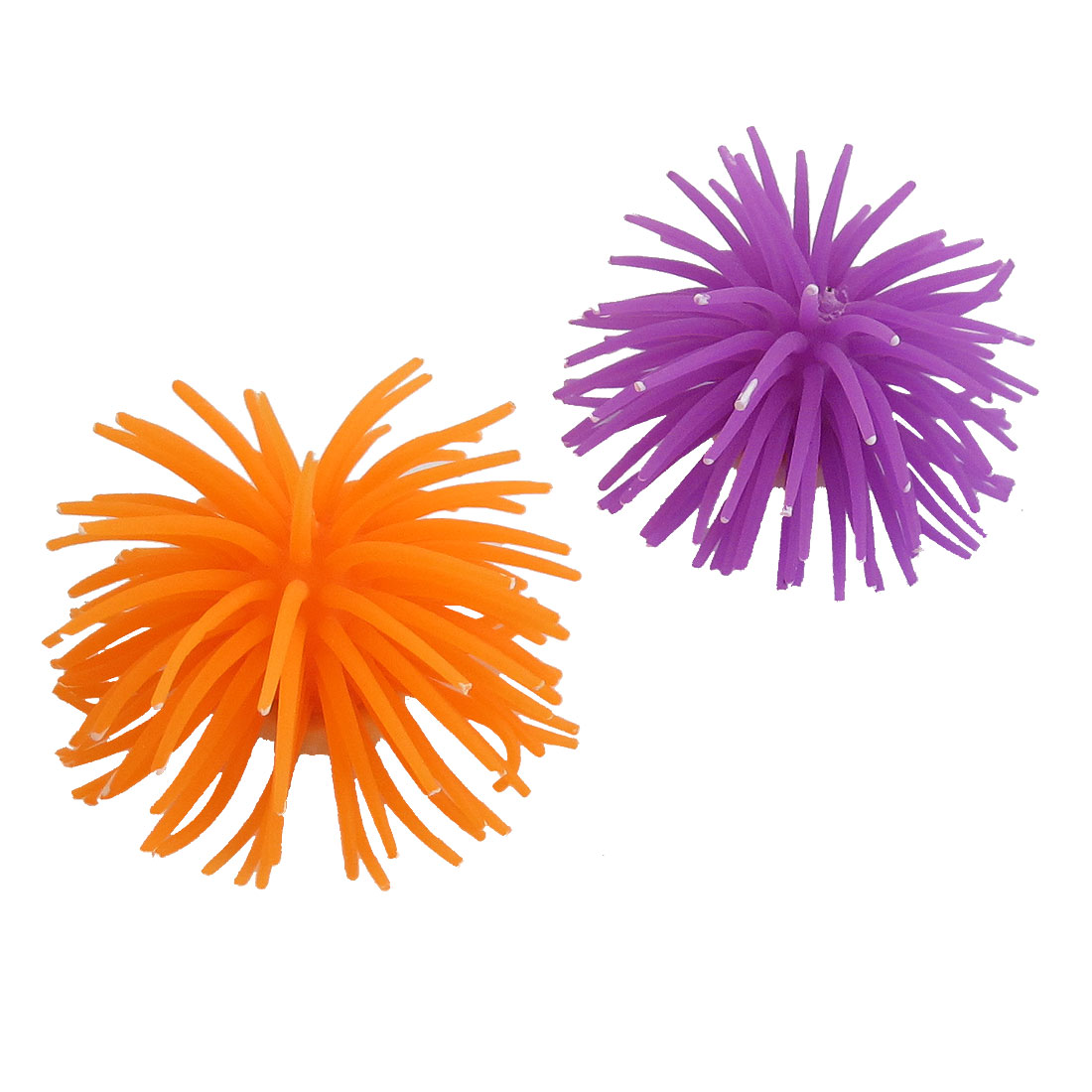 Aquarium Purple Orange Soft Silicone Manmade Corals Shaped Ornament 2pcs