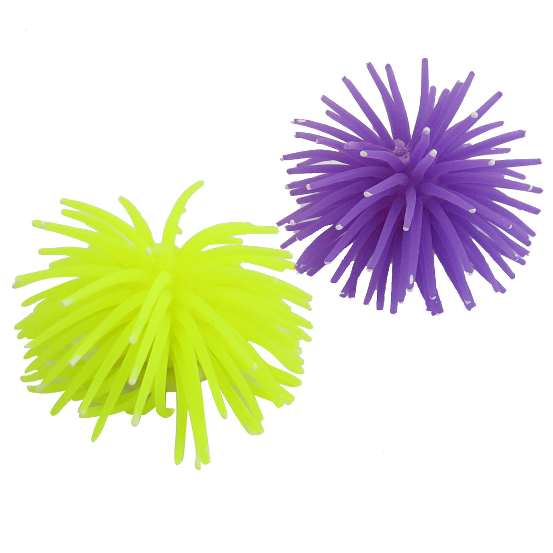 2 Pcs White Dotted Purple Yellow Soft Silicone Corals Decor for Fish Tank
