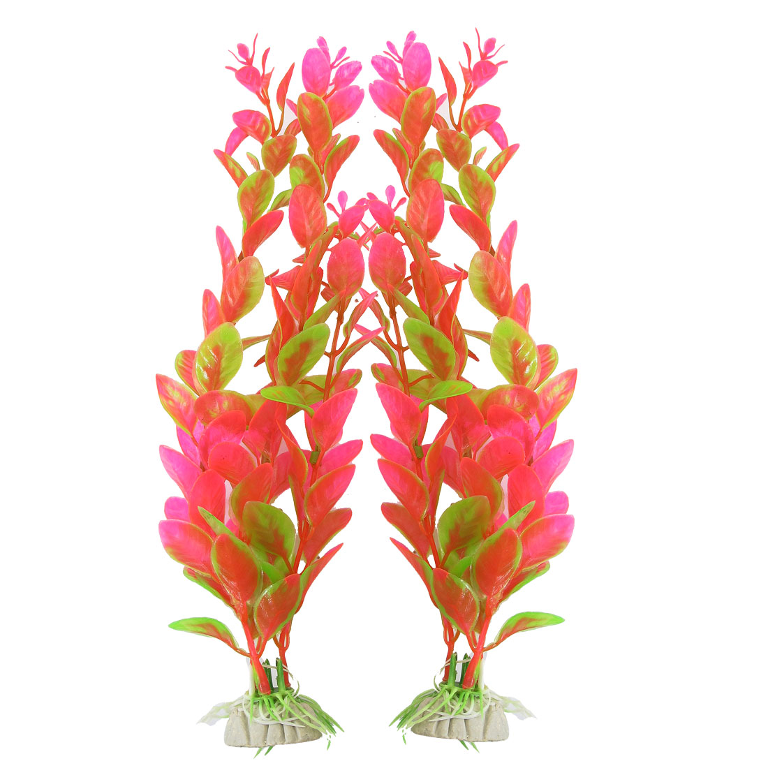 "10"" High Green Hot Pink Artificial Plastic Plants Fish Tank Ornament 2Pcs"