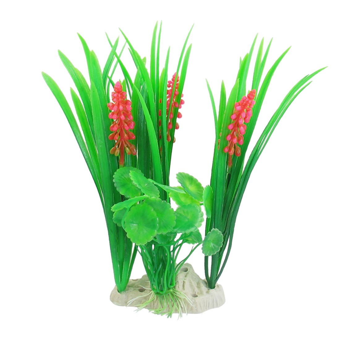 "Aquarium Decoration Fuchsia Green Underwater Plastic Plant 8.7"" x 5.5"""