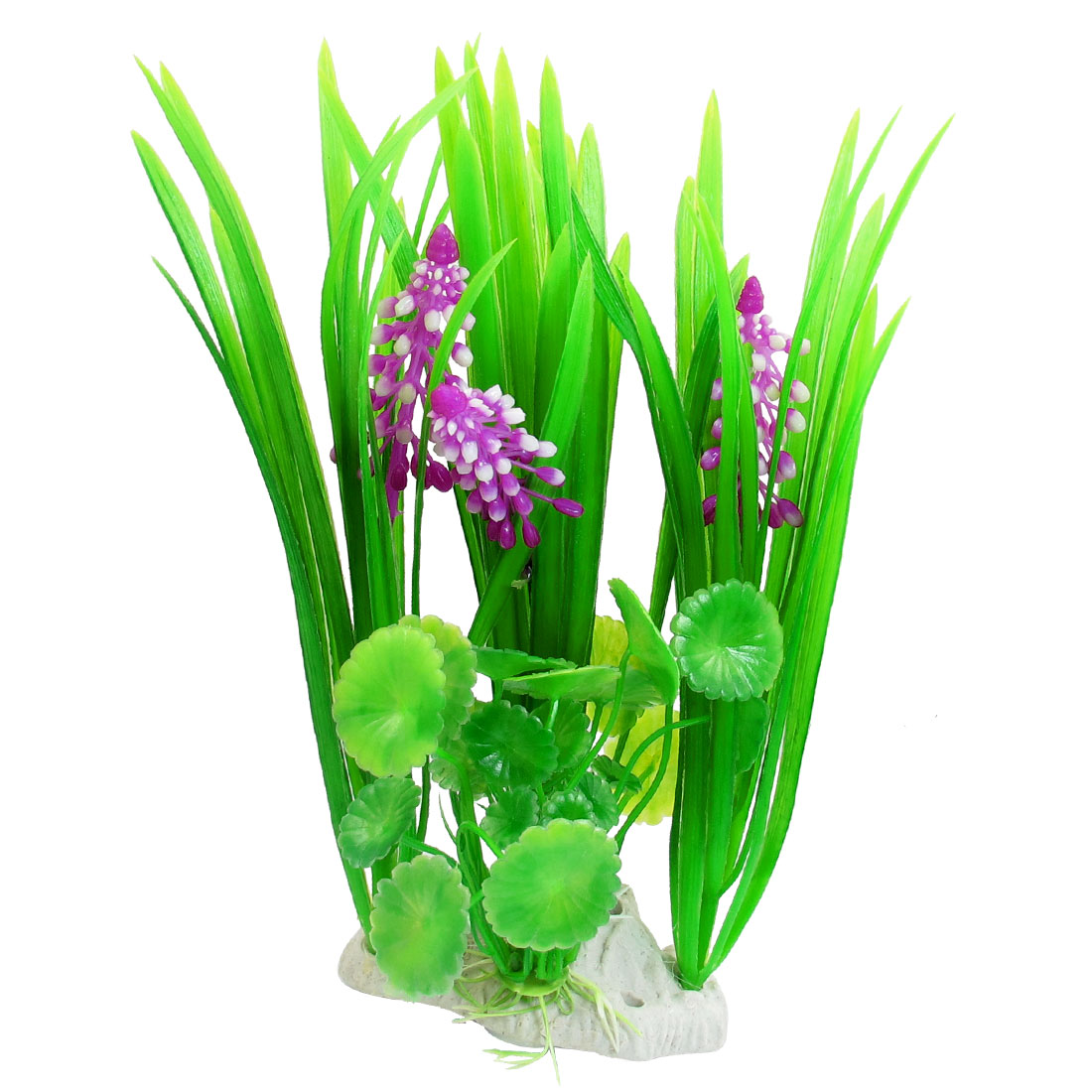 "Fish Pond Purple Green Florescent Manmade Plastic Plants 8.3"" x 4.7"""