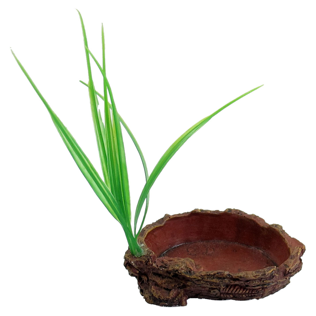 Plastic Grass Brick Red Resin Artificial Food Dish Bowl for Pet Reptile