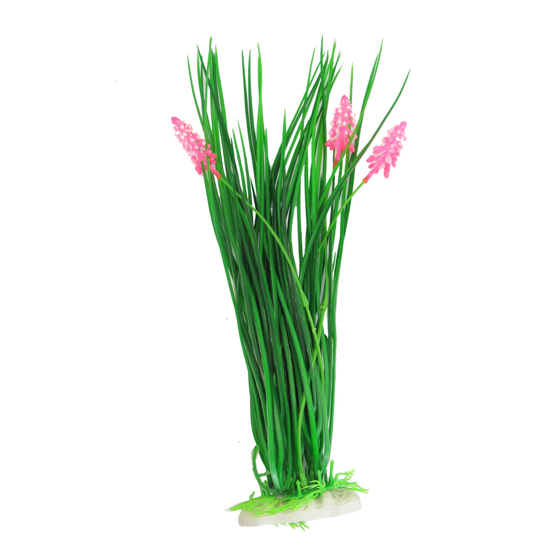 "16"" x 3"" Pink Green Flowering Plastic Grass Plants for Aquarium"