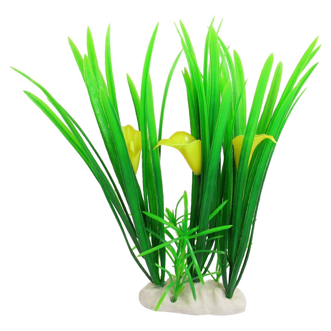 21cm Yellow Green Florescent Manmade Plastic Plants for Aquarium Fishbowl