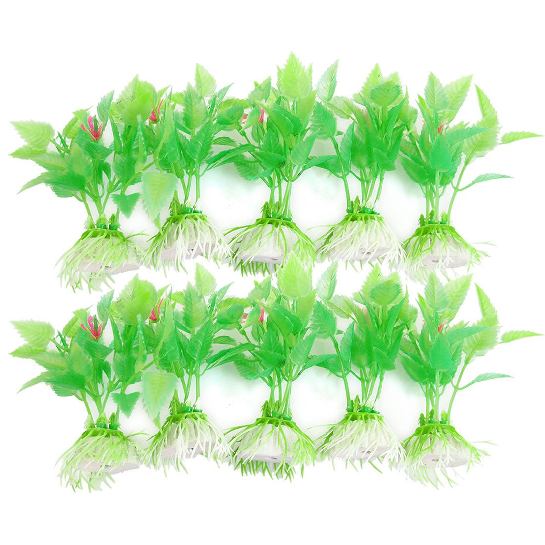 "10 Pcs Aquarium Decorative 3.5"" High Green Florescent Plastic Plants"