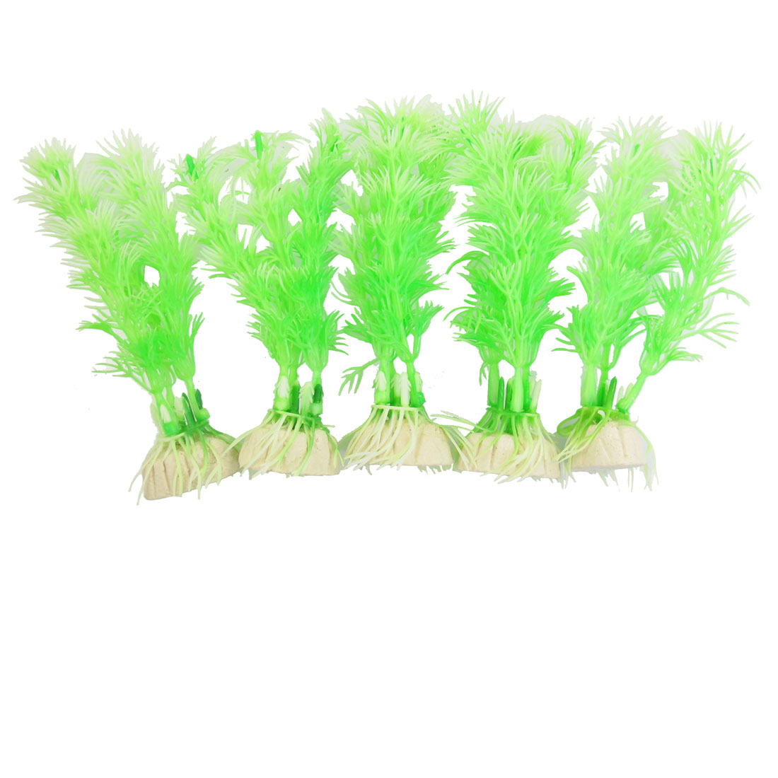 "10 Pcs Aquarium Decorative 4.7"" Height Pale Green Plastic Plants"