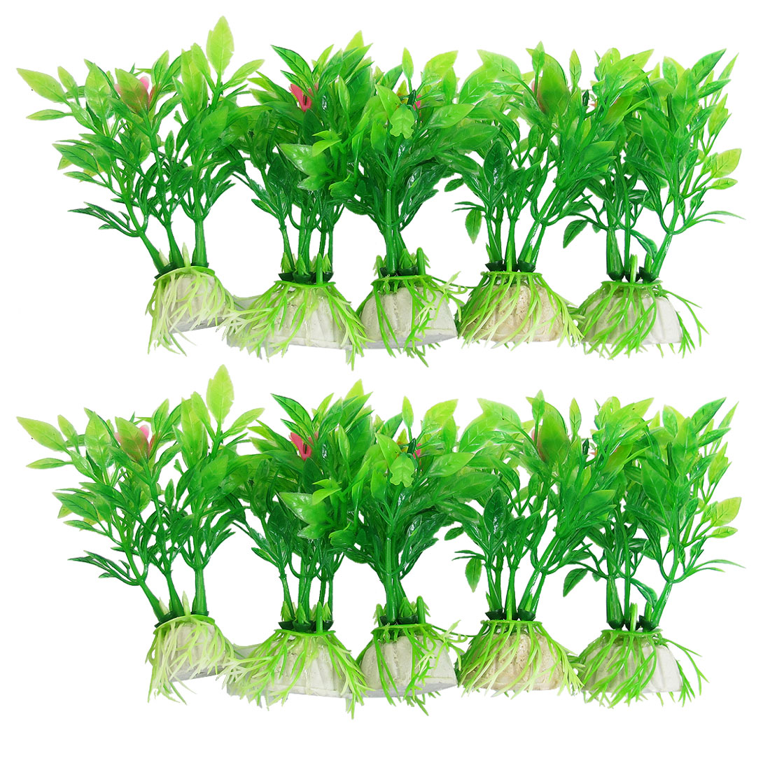 "10 Pcs Aquarium Decor Green Florescent Plastic Grass Plants 3.5"" w Base"