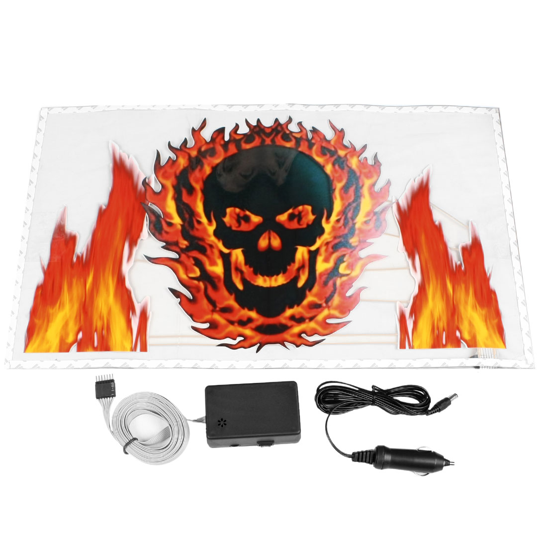 Car Flame Skull Print Sound Music Activated Equalizer Multicolor Flash Light