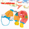 Dots Pattern Pompom Earflap Winter Beanie Hat Scraf Yellow Blue for Children