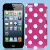 Polka Dots Pattern Fuchsia Hard Back Case Cover for iPhone 5 5G 5th Gen