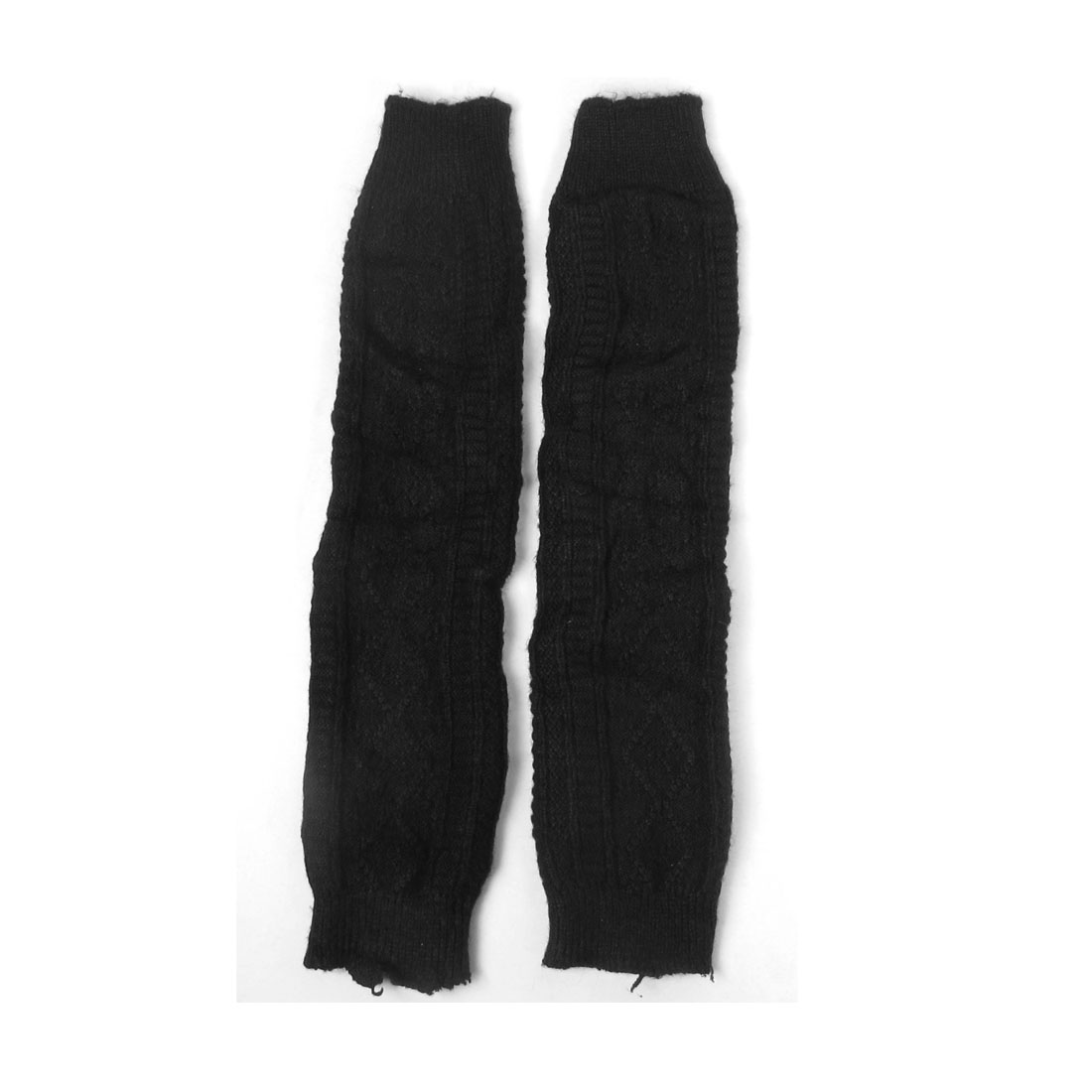 Pair Rhombus Pattern Knitted Knee High Leg Warmers Black for Women