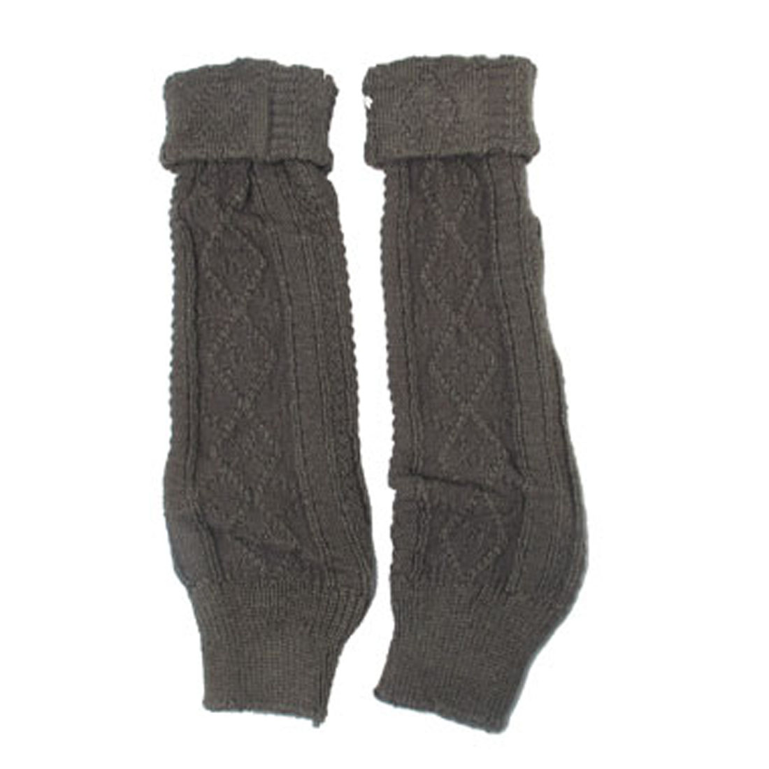 Pair Rhombus Pattern Knitted Knee High Leg Warmers Taupe for Women