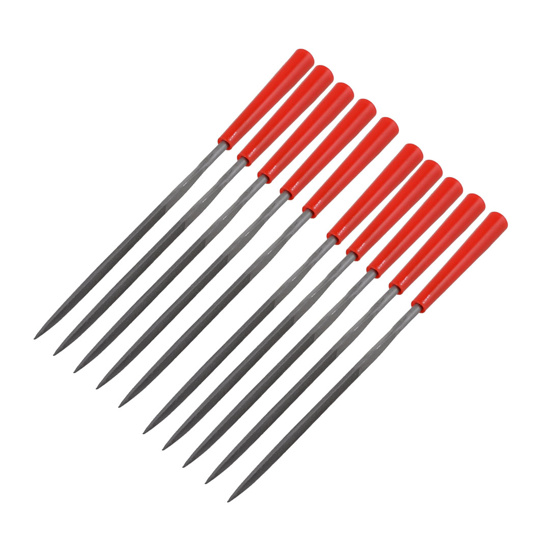 Red Plastic Grip 3mm x140mm Woodwork Triangle Needle Files Tool 10 Pcs