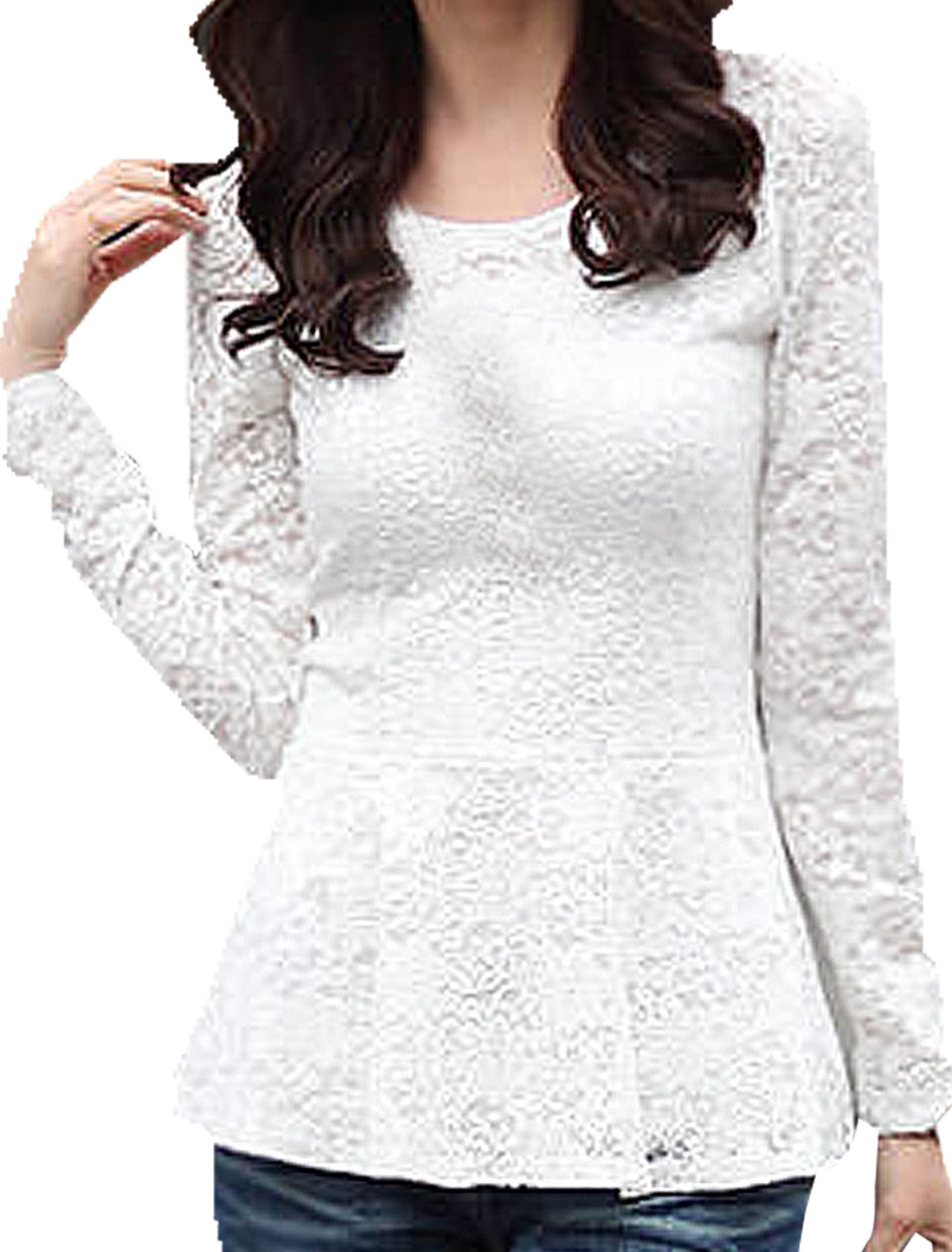 Ladies White Scoop Neck Flower Embroidery Casual Autumn Lace Shirt XS
