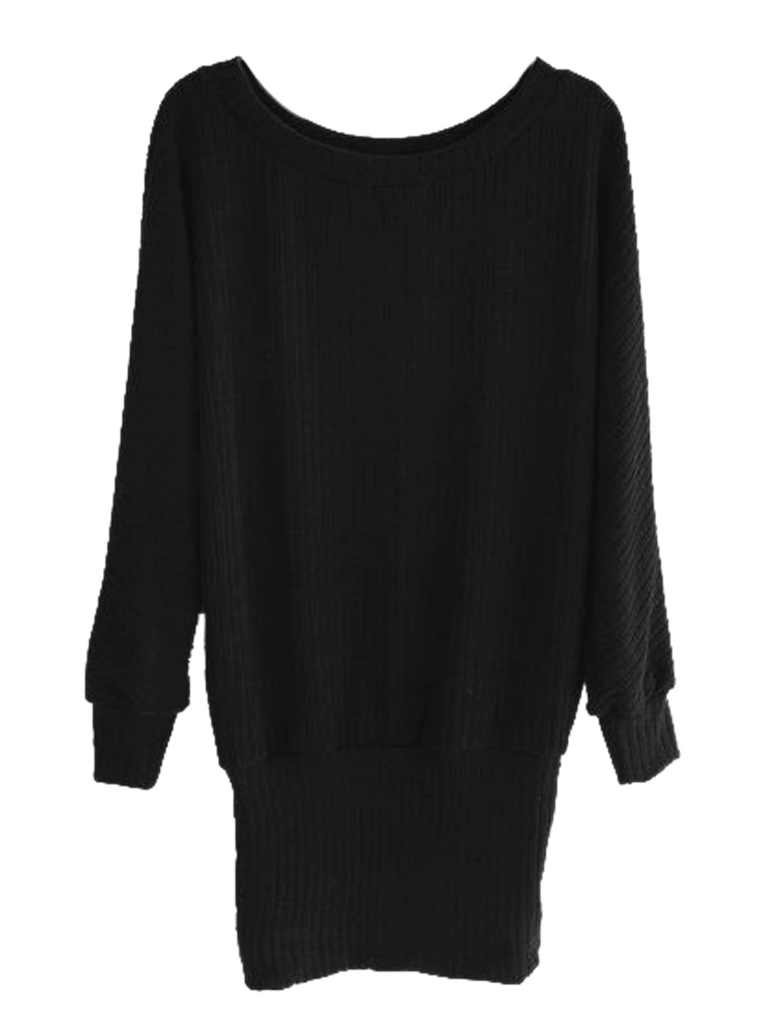 Women Scoop Neck Dolman Sleeves Knitted Blouson Dress Black S