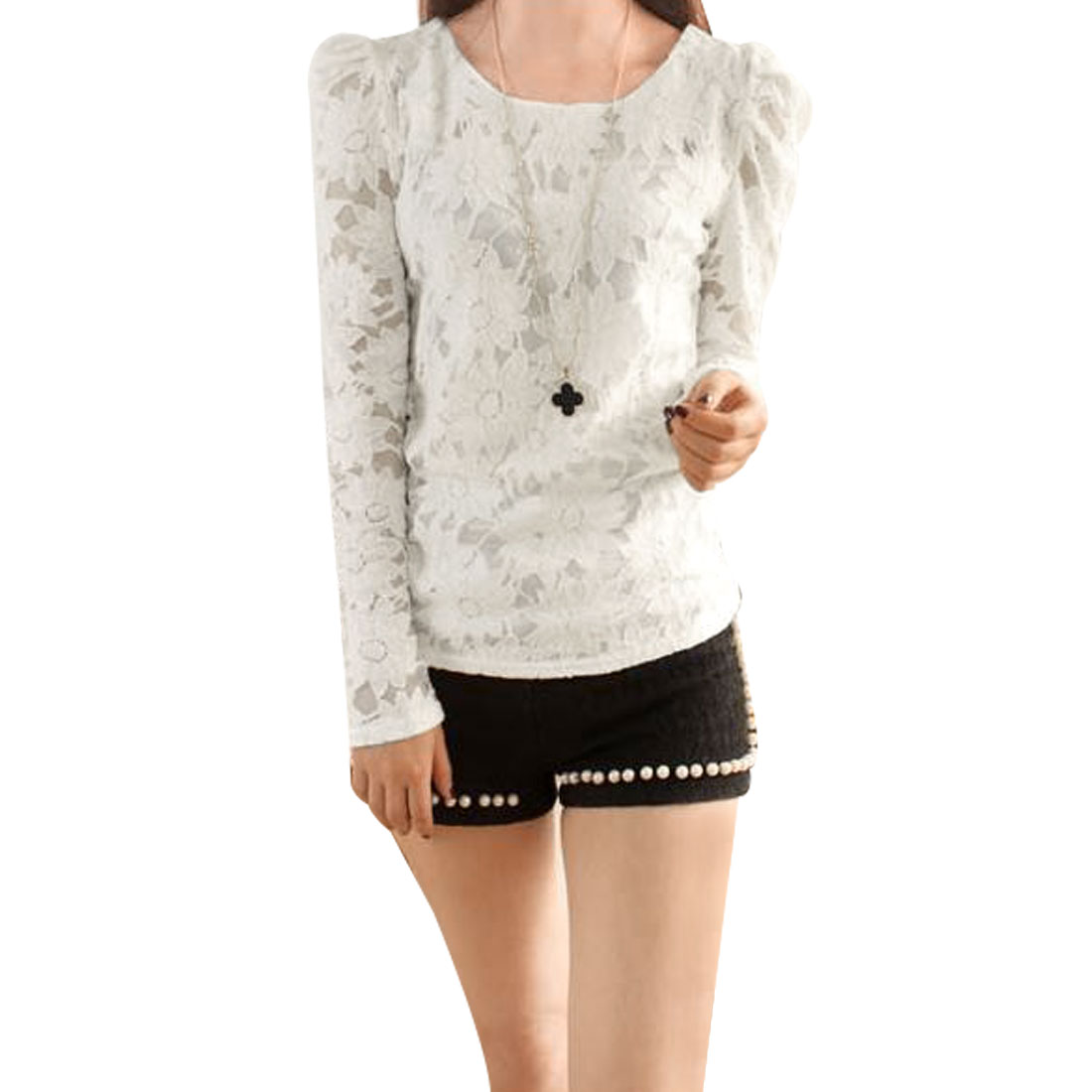 Ladies White Scoop Neck Flower Embroidery Pullover Lace Shirt XS