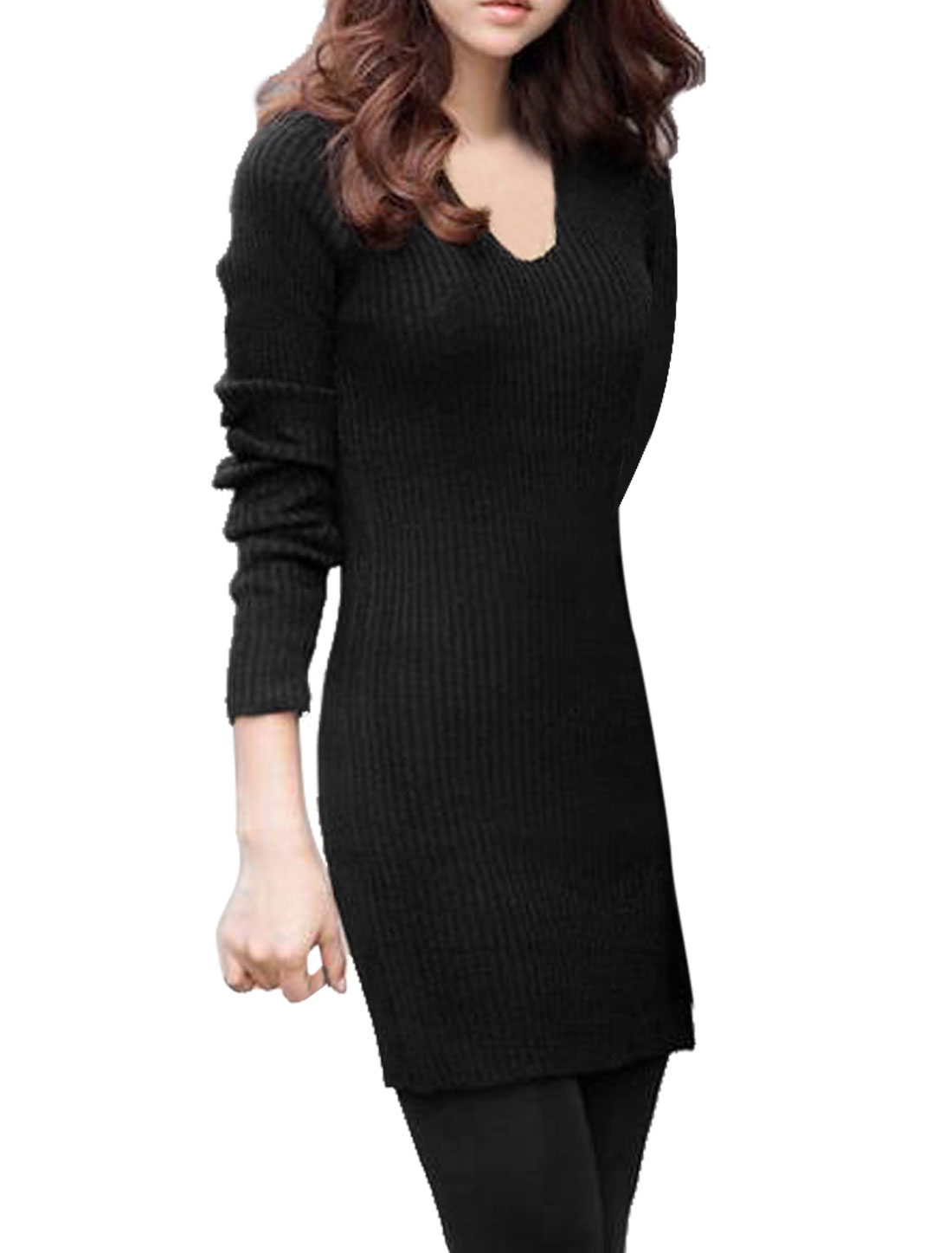 Lady Scoop Neck Long Sleeves Stretchy Simple Black Knit Dress XS