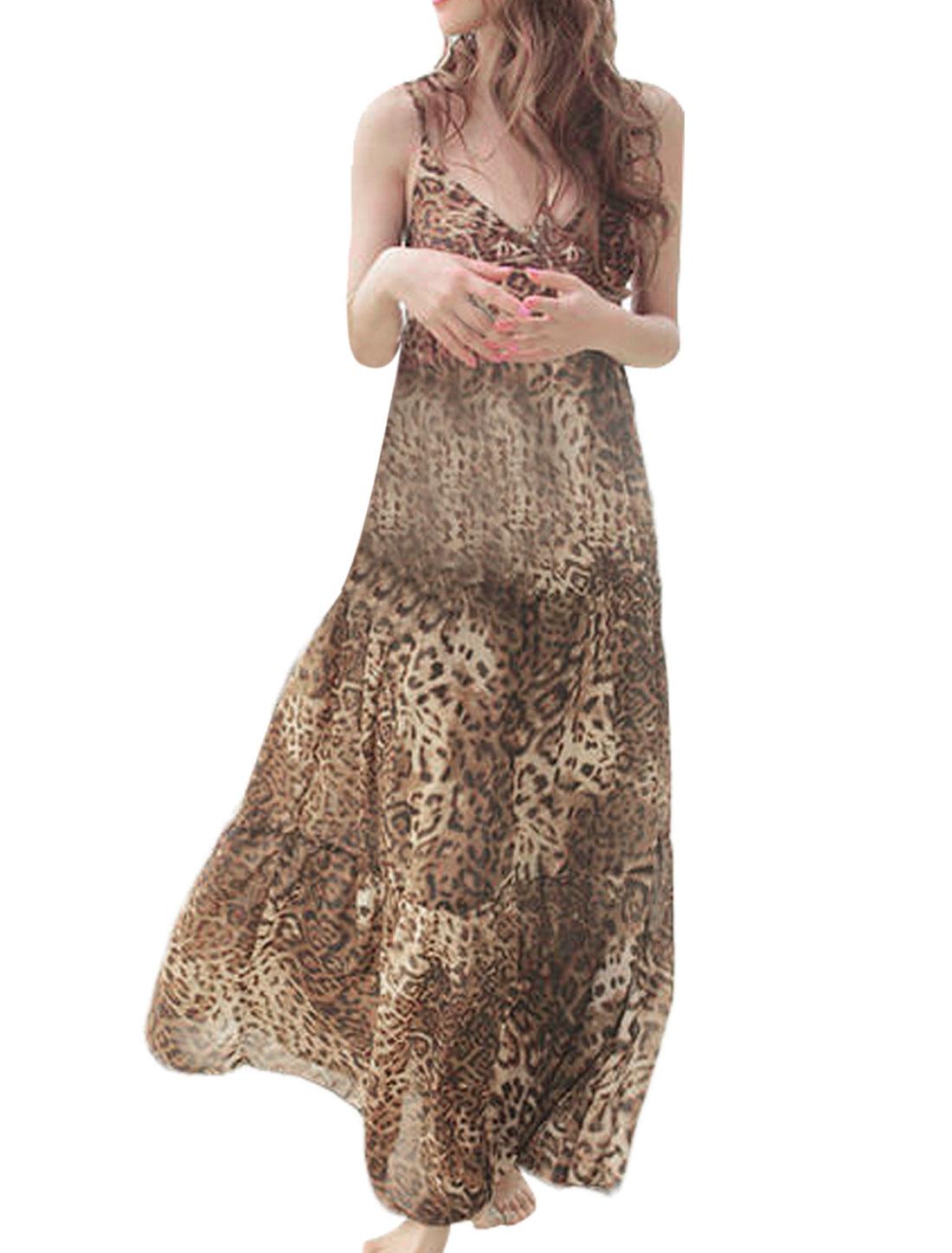 Lady Elastic Top Cross V Neck Leopard Coffee Color Black Dress XS