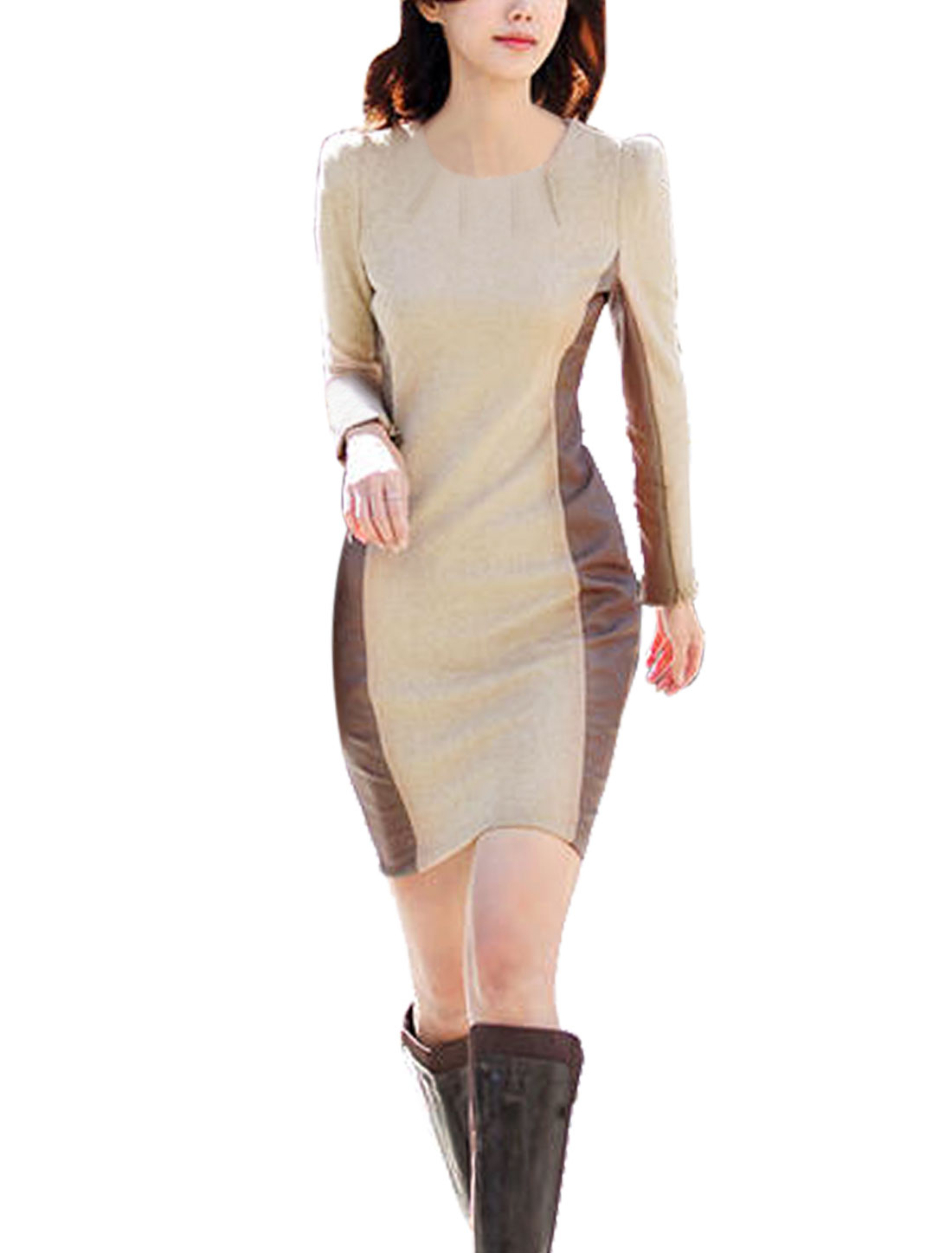 Women Round Neck Long Sleeves PU Panel Sheath Dress Beige XS
