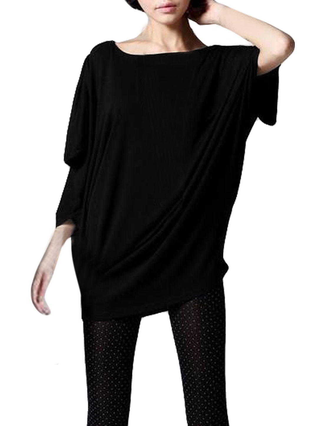 Ladies Black Batwing Sleeves Pullover Loose Stretchy Leisure Tee Shirt S