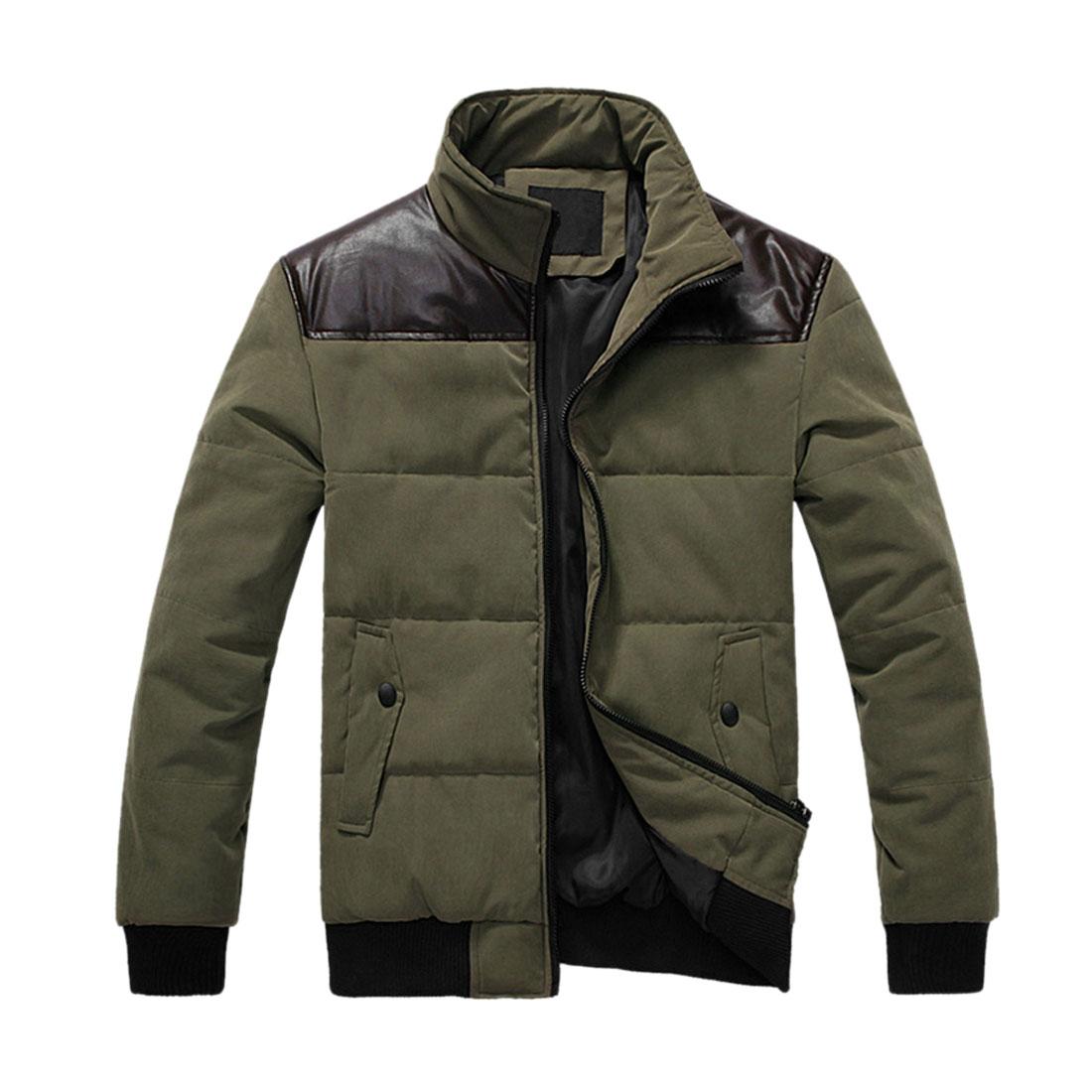 Men Olive Green Zip Up Front Faux Leather Shoulder Ribbed Hem Wadded Coat L