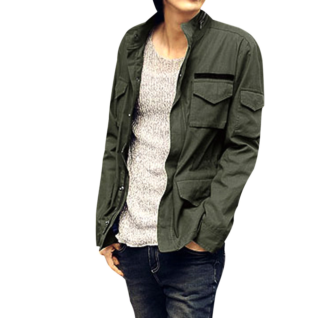 Men Stylish Long Sleeves Four Pockets Front Olive Green Jacket M