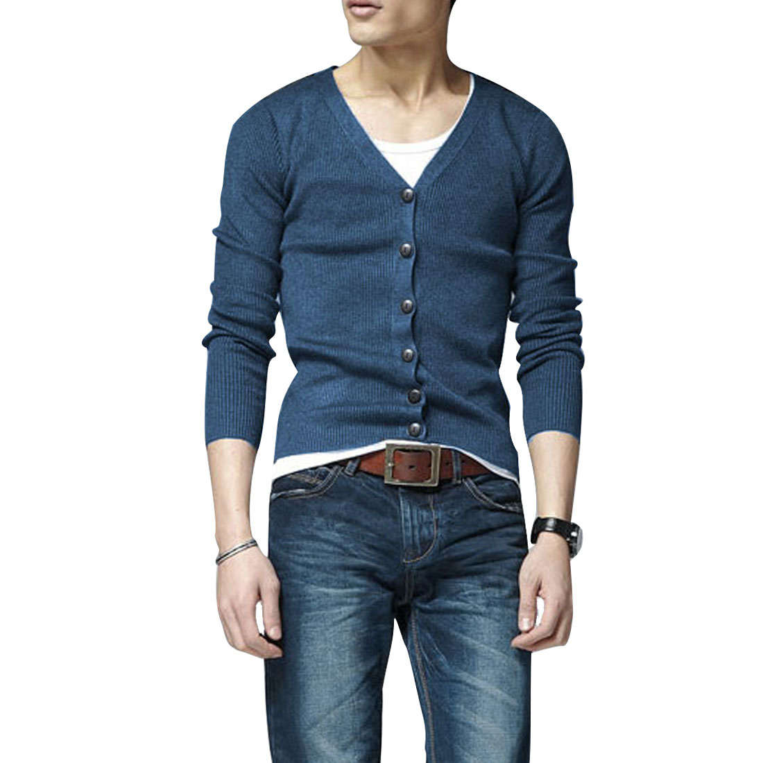 Men Simple Button Up Front V Neck Stretch Steel Blue Knit Shirt S