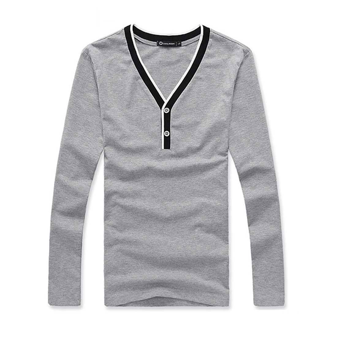 Men V Neck Long Sleeve Ribbing Detail Pullover Light Gray Shirt S
