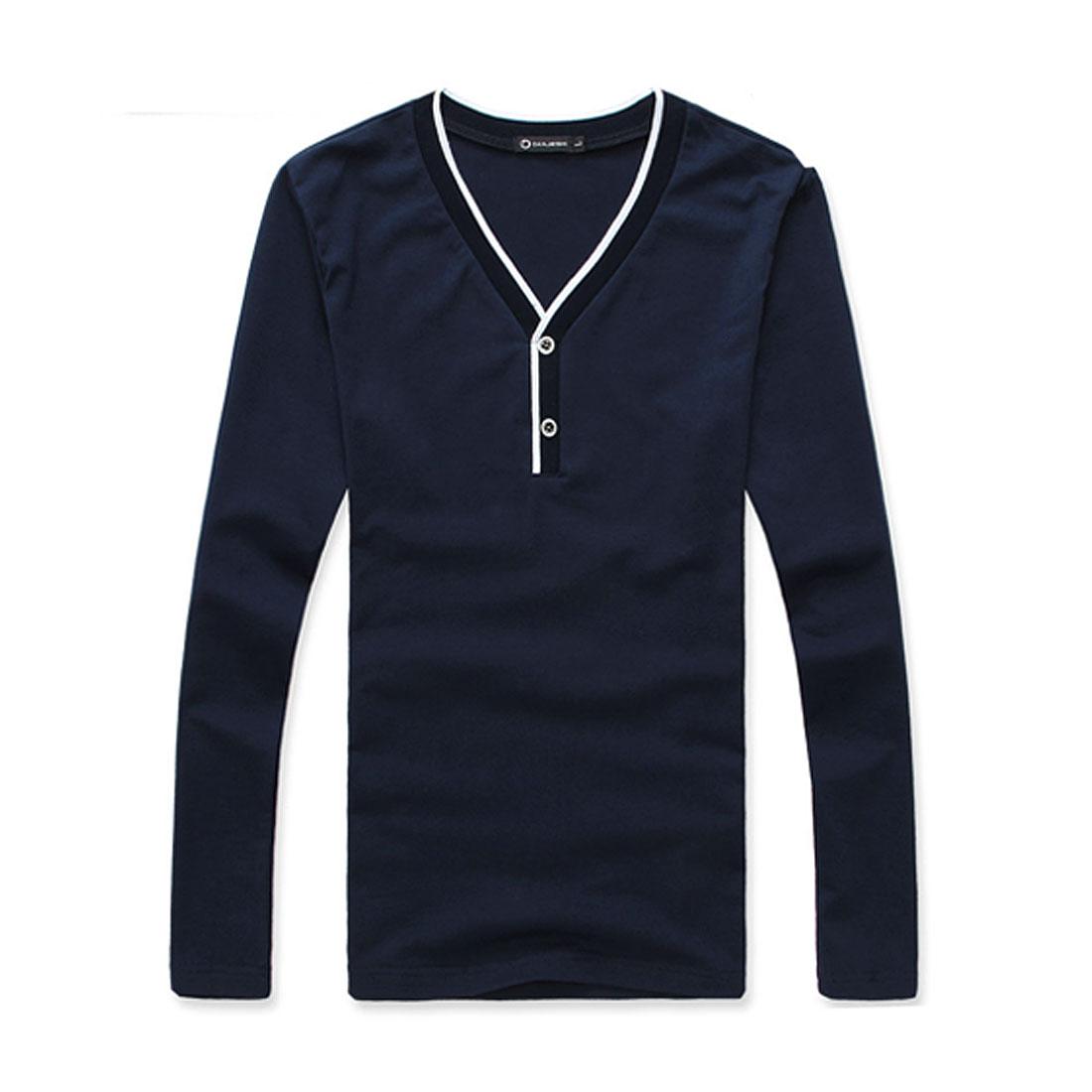 Men Long Sleeve V Neck Pullover Dark Blue Pullover Basic Shirt S