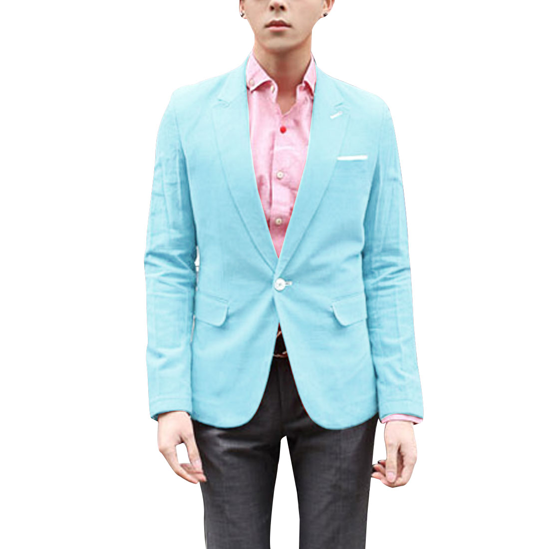 Men Light Blue Notched Lapel One Button Closure Casual Blazer M